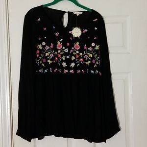ODDY Long sleeve floral embroidery blouse